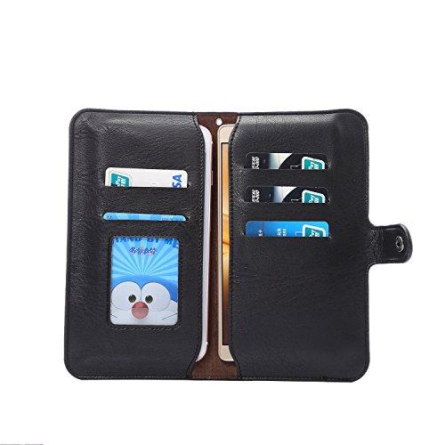 Copertura del telefono in pelle PU multifunzionale Adatto per iPhone 8 Plus, iPhone 7 Plus, iPhone 6 Plus, 6S Plus ,Samsung,Huawei Smartphone (6.0-Pollice Nero) Nero