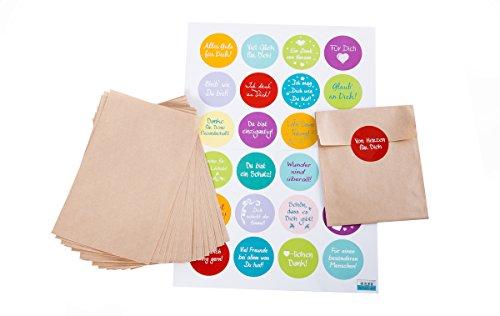 Contenu : 24 pochettes en papier marron plate (10,5 x 15 cm) et multicolore 24 autocollants avec dictons pour fermer ou pour décorer des sachets