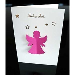 Weihnachtskarte, Faltkarte, Engel, Handarbeitvmit Umschlag