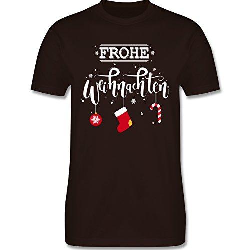 Weihnachten & Silvester - Frohe Weihnachten Lettering - Herren Premium T-Shirt Braun