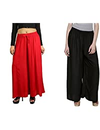 MRV Fashion's Latest & Stylish Casual Wear Rayon Plazzo Pants For Women/Girls/ Best Fabric For Summers (red::black)