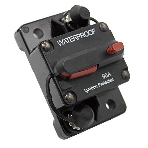GreatFun Wasserdichter, schaltbarer, oberflächenmontierbarer Leistungsschalter mit 90A Nennspannung, 12-48 VDC, manuell rücksetzbarer Leistungsschalter -