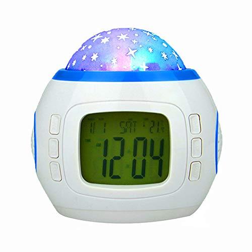 SADAKUKU Kinderuhr Aufwachen Licht Digital Stumm Elektronische Sternenhimmel Projektion Wecker Schlaf Timer Mit Temperaturanzeige Nachtlicht Batteriebetrieb