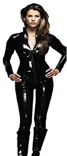 Forever Young - Damen Catwoman-Kostüm - PVC-Catsuit - Schwarz - Größe ()