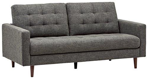 Amazon Marke -Rivet Cove Getuftetes Sofa im Stil der 1950er Jahre, B 180,5cm, Dunkelgrau
