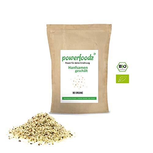 Powerfoodz Bio Hanfsamen geschält Premium Qualität Hanf samen 99% rein - natürliche Eiweiß quelle Vegan Glutenfrei Rohkost Omega 3 und 6 (2 x 1kg)