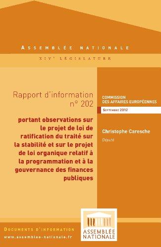 Couverture du livre Rapport d'information portant observations sur le projet de loi de ratification du traité sur la stabilité, la coordination et la gouvernance au sein de l'Union économique et monétaire