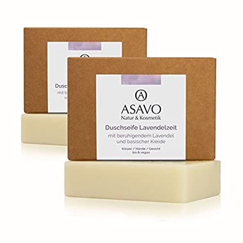 ASAVO Premium Lavendelseife, handgeschöpfte Naturseife, mit Bio-Karitébutter, nativem Bio-Kokosöl & natürlichem Lavendelöl, vegan, ohne Palmöl,