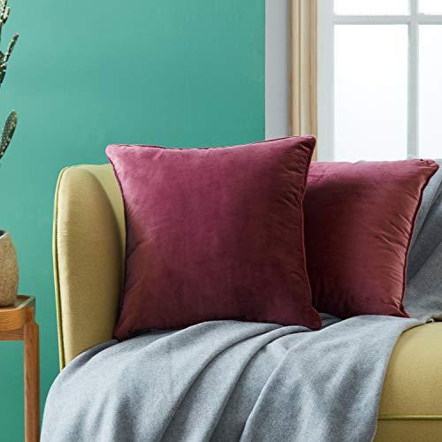 Topfinel juego 2 Hogar cojín Terciopelo Decorativa Almohadas Fundas Color sólido para Sala de Estar sofás 50x50cm Borgoña