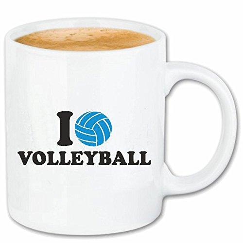Reifen-Markt Kaffeetasse I Love Volleyball - Strand Volleyball - Beach Volleyball - Volleyball Spieler - Volleyballspielerin Keramik 330 ml in Weiß