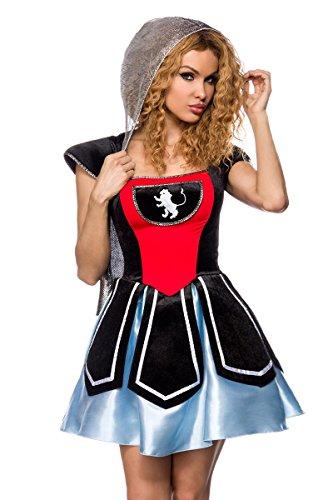 Faschingkostüm Ritter - Fasching-Kostüm `Ritter` aus Samt und Satin mit Kapuze in stilechter Kettenhemd-Optik 2-tlg. Set: Kleid, String - A14348, Größe:36/38;Farbe:schwarz