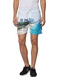 BEEVEE Mens Blue Coloured Digital Printed Shorts,cotton Blend Fabric,has Two Pockets, An Elasticated Waistband...