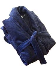 John Christian peignoir en velours à col châle de qualité supérieure - 100% Coton - Homme - Bleu Roi