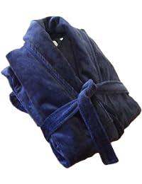 John Christian peignoir en velours à col châle de qualité supérieure, 100% Coton, Homme, Bleu Roi