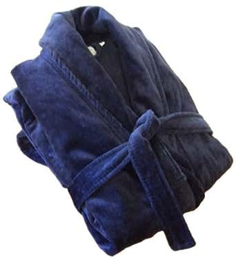 John Christian peignoir en velours à col châle de qualité supérieure - 100% Coton - Homme - Bleu Roi (M)