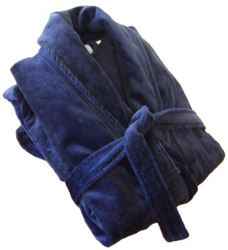 John Christian - Albornoz de Terciopelo 100% algodón - Azul Marino - Hombre XL