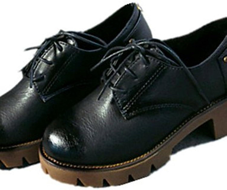 ZQ Zapatos de mujer-Plataforma-Plataforma-Oxfords-Exterior / Oficina y Trabajo / Vestido / Casual-PU-Negro / Marrón...