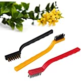 Grizzly 3Pc Mini Wire Brush Set,Cleaning Tool Kit - Brass, Nylon, Stainless Steel Bristle
