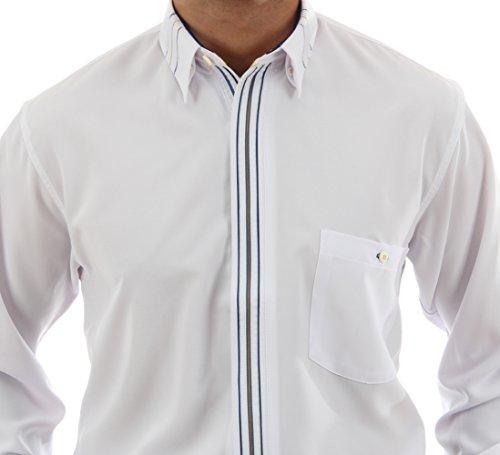Ausgefallenes Hemd in Weiß, für Herren BESTE QUALITÄT, HK Mandel  Bügelfreies Hemd Langarm Normal ...