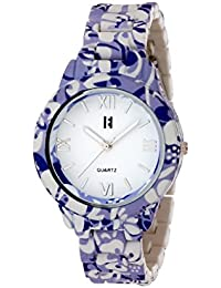 Excelencia CW-24-Blue and Lavender Floral Print Analog Watch- For Women