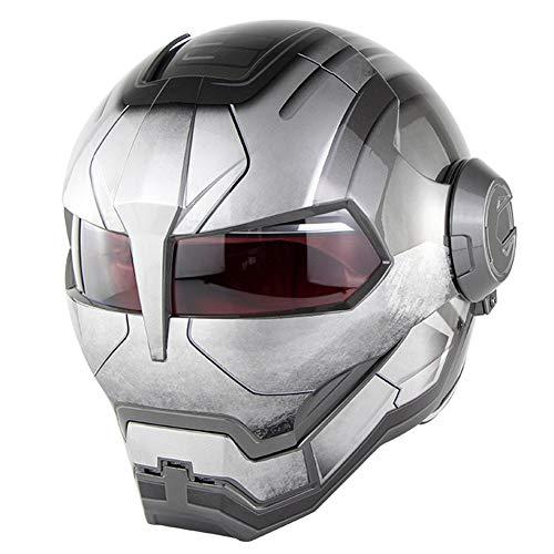 ANKIKI Volles Gesicht Motorrad Retro Helm Einzigartig gestalten Schutzausrüstung Kollisionsschutz Rennfahrer Kopf Schutz Reiten im Freien Schutz der Sicherheit,Gray,M