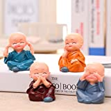 Jaipur Ace Set of 4 Beautiful Miniature Decorative Showpiece for Home, Office, Table, Car Decor (Cute) (Set of 4 Monk…