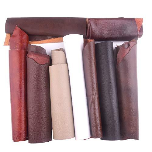 TUPARKA 1 kg di cuoio ritaglia pezzi tagliati Pezzi di artigianato Varie dimensioni Pelle di scarto di qualità mista per lavori artigianali