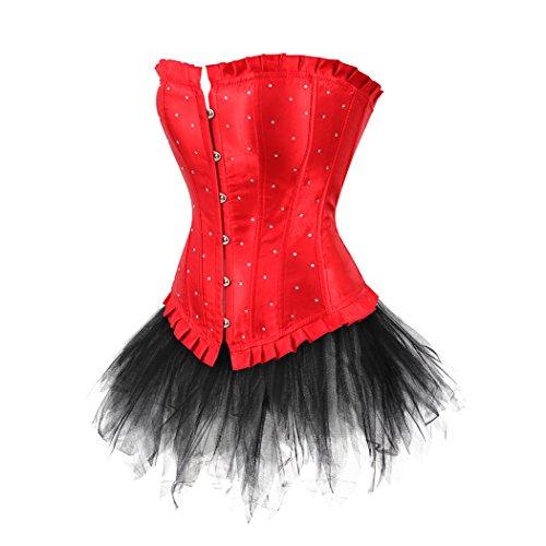 Lace up Satin Diamond Corset With mini tutu Set Burlesque Costumes Plus Size Rot-7008Schwarz