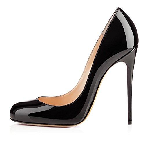 Soireelady Escarpins Femme Sexy,Coupe fermées femme,Talon Haut Aiguille Chaussures Schwarz EU42