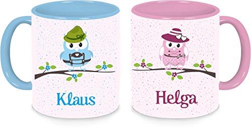 Tasse Becher 2er Set Bayerische Eulen mit Namen und Wunschmotiv (mit blauen, rosa Rand) (Tasse Eule Kaffee Blaue)