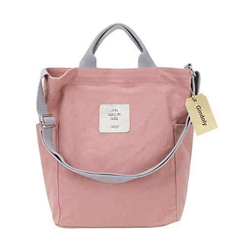 Gindoly Casual Handtasche Damen Canvas Chic Schultertasche Große umhängetasche Tasche (Rosa)