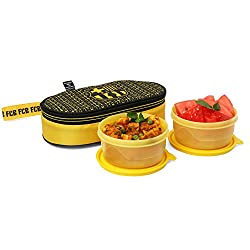 FCBARCELONA Club 2 Container Lunch Box Yellow (Licensed By Cello)