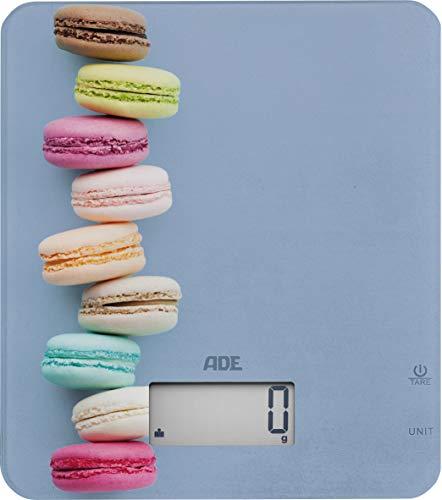 ADE Digitale Küchenwaage KE 1718 Lucy. Elektronische Waage mit buntem Aufdruck für die süße Küche. Präzise wiegen bis 5kg, auch für Flüssigkeiten. Zuwiegefunktion Tara, LCD-Display. Inkl. Batterie
