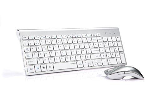 TopMate KM9001 Ensembles Clavier et Souris Sans Fil pour PC et ordinateur portable (AZERTY) (Blanc argent)