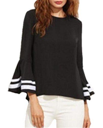 Kerlana T-Shirt Donna Girocollo Allentato Casuale Camicetta Maniche dell'altoparlante T-Shirt Righe Tops Maglietta Manica Lunga Camicetta Comode Black