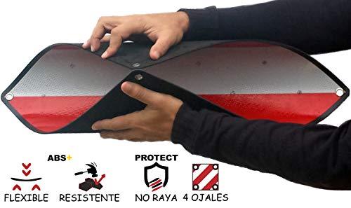 MAGMA Warntafel für hinten | Für Fahrradträger, Heckträger & Anhänger | Warnschild für Wohnwagen, Wohnmobil, Auto, Motorrad | Für Urlaub, Camping, Abschleppen | Rot-weiße Streifen, reflektierend