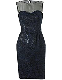 Stunning Navy Mesh Panel Contrast Evening Wedding Prom Jacquard Dress
