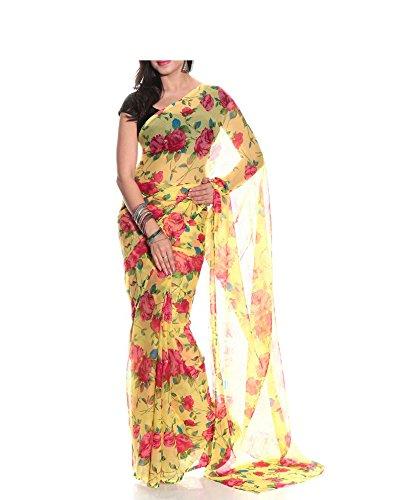 Memsahiba Chiffon Saree (Ms-652 _Yellow)