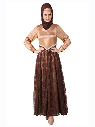 MyBatua Mahrosh Copper & Brown Embroidery Eid Wear Abaya Dress AY-484 (L)