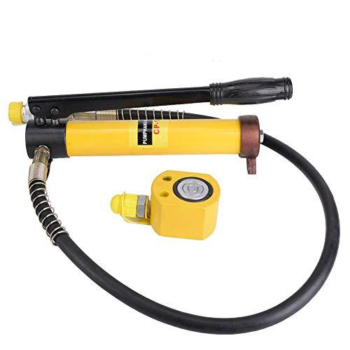 Hydraulikzylinder, langlebige manuelle Hydraulikpumpe + ultradünnes 10T-Hydraulikzylinder-Stahlgriff-Hebewerkzeug für eine Vielzahl von Autoreparaturen, Karosserien, Rahmenreparaturen