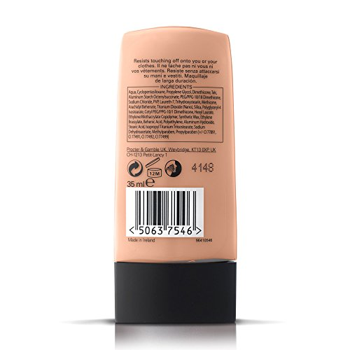 Max Factor Lasting Performance Liquid Foundation, High Coverage, Smudge-Proof Formula for Sensitive Skin Type, 105 Soft Beige, 35 ml