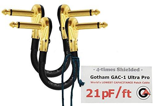 2Einheiten–Gotham gac-1Ultra Pro–15,2cm (15cm)–low-cap (21PF/FT) Gitarre Bass Effekte Instrument, Patch Kabel mit vergoldeten, Low-Profile, rechts abgewinkelt Pancake Typ TS (6,35mm) Anschlüsse