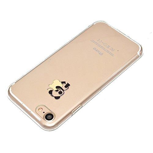 Custodia per iPhone 5 5S,Specchio Custodia Cover per iPhone SE,Leeook Moda Lusso Brillante Diamante Bling Gomma Cellulare Protettiva Case in Oro Riflettente Ultra Sottile Flessibile Anti-Graffio Trucc Panda Orso
