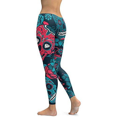 LUBITY Taille éLevéE Sortir Poche Yoga Capris Pantalon Ventre ContrôLe EntraîNement ExéCution ÉTirer Yoga Capris Leggings Bleu