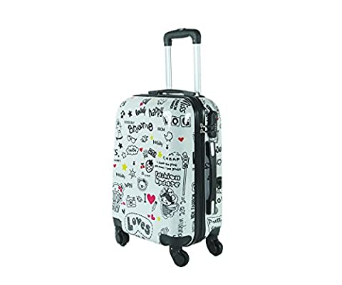 Valise bagage cabine 55cm - Trolley ABS ultra Léger - 4 roues pour voler avec EasyJet - Ryanair art happiness