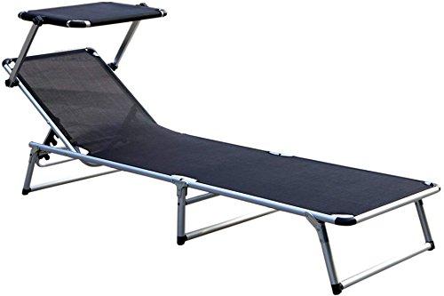 Unbekannt Alu Sonnenliege Relaxliege mit Sonnenschutz-Dach Schwarz