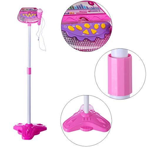 LVPY Karaokemaschinen Mikrofon Spielzeug, Standmikrofon Einstellbar mit Ständer und Licht Mikrofon Musik Spielzeug Geschenk für Kinder - Rosa