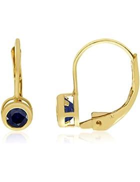 14k Gelbgold 4mm Saphir Zargenfassung Leverback Ohrringe