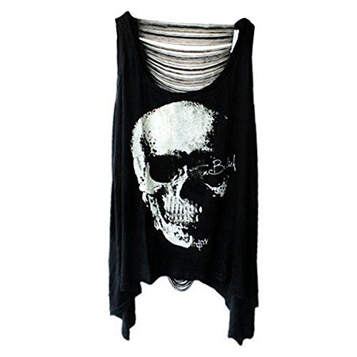 Kostüm Punker (Damen Sexy Skull Schädel Punk Tassel T-Shirt Ärmellos schwarz Shirt Tops Tank)