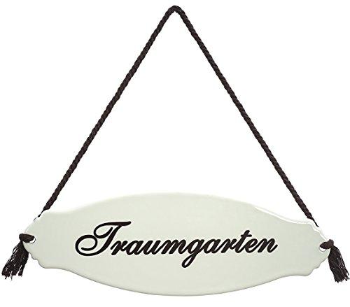 Dehner Gartenschild \'Traumgarten\', ca. 30.5 x 10.5 x 0.3 cm, Stahl, weiß/beige